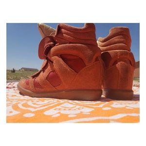 orange suede wedge sneakers by ISABELMARANT 39
